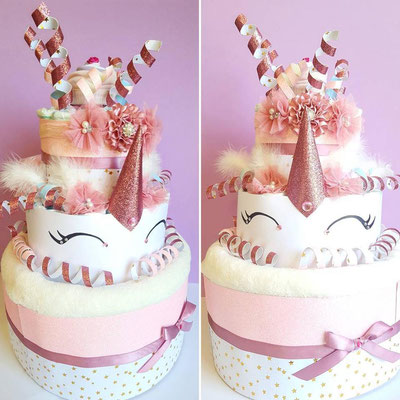 gâteau de couches licorne girly paillettes