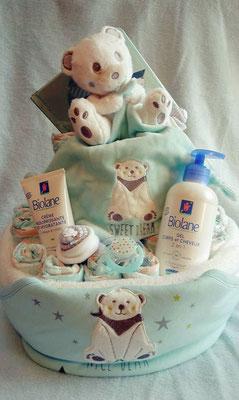 gâteau de couches bain garçon