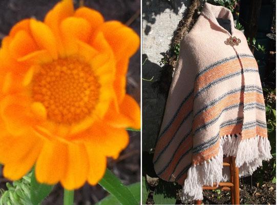 Die leuchtende Ringelblume gab mir die Idee zu diesem Tuch. Das handgewebte Tuch ist dicke und warm.