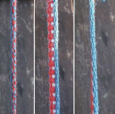 Hammerum Bändchen : links Draufsicht rote Seite, Mitte Draufsicht, Rechts Draufsicht blaue Seite