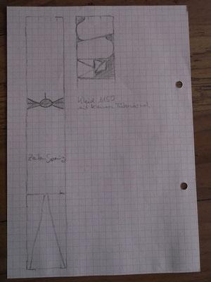Schnittschema für ein Hochmittelalterliches Kleid basierend auf einer schulterbreiten Stoffbahn