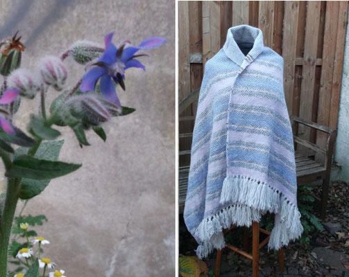 die zarte Blüte des Boretsch war hier die farbliche Insiration zu diesem Tuch