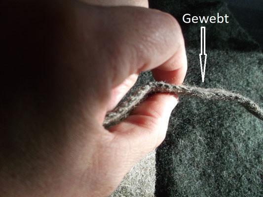 Schnittfläche gewebter Walkstoff