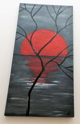 Acrylbild auf Leinwand / Keilrahmen - 100 x 50 x 4 cm - grau/ rot  Sonnenuntergang / September 2018