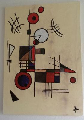 Hommage an Kandinsky/ beige -Acrylbild auf Leinwand / Keilrahmen -  50 x 70 cm - April 2016 ( verkauft)