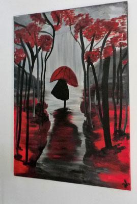 Acrylbild auf Leinwand/ Keilrahmen - Mädchen im Regen - 50 x 70 cm - August 2017