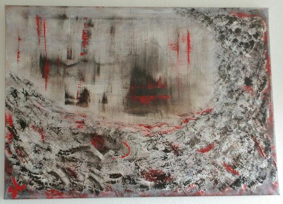 Abstrakt - grau- dunkelbraun- rot  / 70 x 50 cm - Acrylfarbe und Gel  auf Leinwand / April 2016 - verkauft