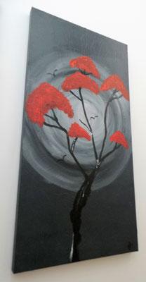 Acrylbild auf Leinwand / Keilrahmen - 100 x 50 x 4 cm - grau/ rot   / September 2018