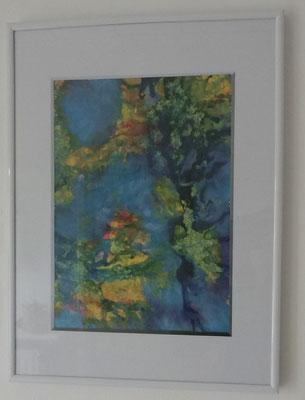 Acrylbild auf Papier mit Rahmen - Föntechnik - 2015