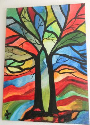 Acrylbild auf Leinwand/ Keilrahmen / Bäume- abstrakt / 70 x 50 cm / August 2016 - verkauft