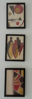 3 kleine Acrylbilder auf Papier mit Rahmen