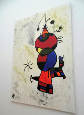 Acrylbild auf Leinwand/ Keilrahmen - 50 x70 cm - Hommage an Joan Miro  - Dezember 2016 - verkauft