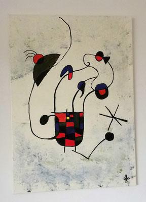 Acrylbild auf Leinwand/ Keilrahmen - Hommage an Joan Miro - 50 x 70 cm - Januar 2017