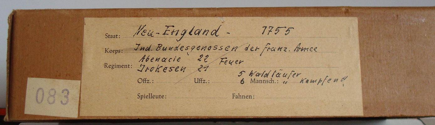 Schachtel 083 - Bild 1 - Neu - England 1755 Ind. Bundesgenossen der franz. Armee