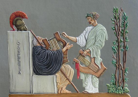 Klio stimmt die Kithara des Homer - Rückseite; Bemalung: Rainer Berthold