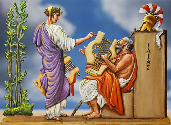 Klio stimmt die Kithara des Homer; Bemalung: Michael Behring