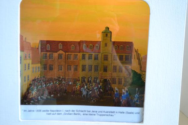 Im Jahre 1806 weilte Napoleon I nach der Schlacht von Jena und Auerstedt in Halle/Saale und hielt auf dem 'großen Berlin' eine kleine Truppenschau