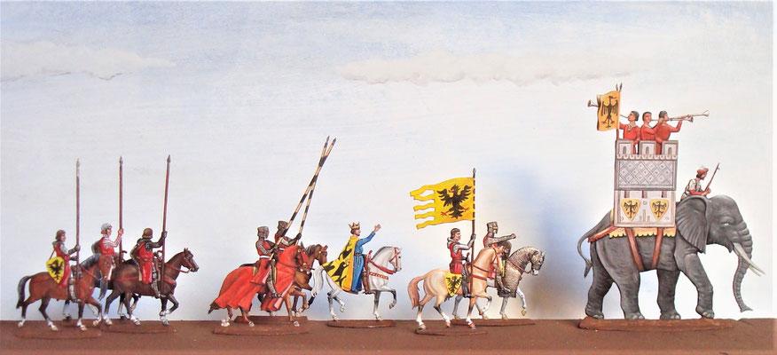 Friedrich der II und der Elefant von Cremona - Gravur Andrä -Bemalung Dr. Weiß