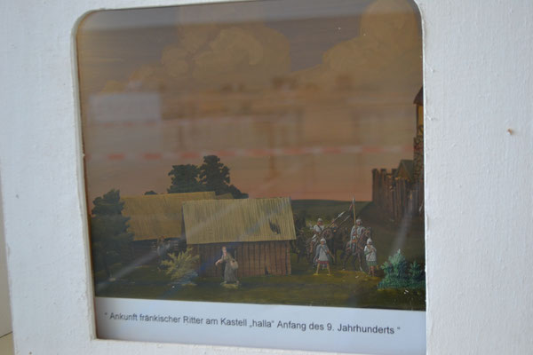 "Ankunft fränkischer Ritter am Kastell ""halla"" Anfang des 9. Jahrhundert"