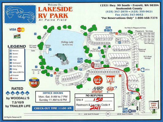Map des Lakeside RV Parks
