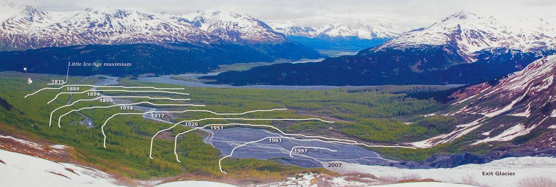 Durch den Klimawandel ziehen sich die Gletscher weltweit dramatisch zurück, so auch der Exit Glacier