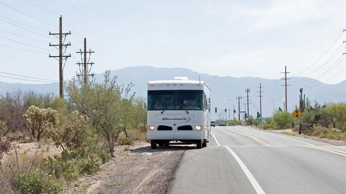 Stopp auf der W Tangerine Rd, Marana, Arizona, wegen eines Rotschwanzbussardes