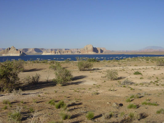 Blick zum Lake Powell vom Campground Wahweap