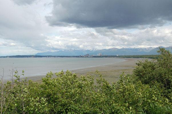 Blick auf Anchorage vom Point Woronzof