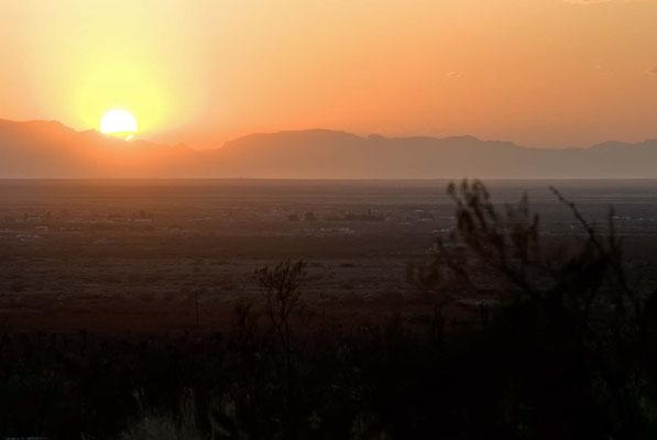 Gebirgskette der San Andres Mountains vom Oliver Lee Memorial State Park aus gesehen