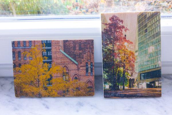 Bilder ohne Überzugslack - am rechten Bild sind letzte Papierfaser zu erkennen