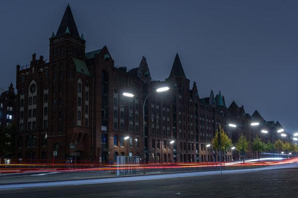 Speicherstadt mit Lichtstreifen