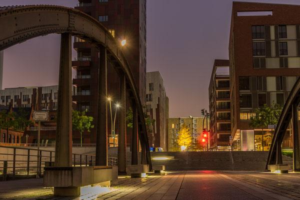 Brücke zum Überseequartier mit Herbstlaub