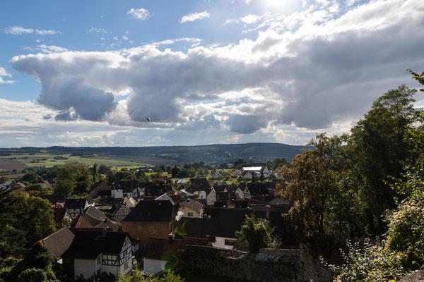Blick auf den alten Ortskern von Nordeck