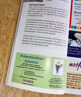 08.02.2021:  Im Prospekt der Kinderdrehscheibe, das alle Kinderbildungs-und Betreuungseinrichtungen der Steiermark auflistet, findet man uns erstmalig auf Seite 18!