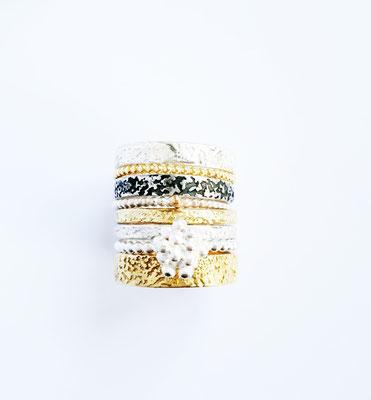Ringkombi salty Silber-18 K Gold