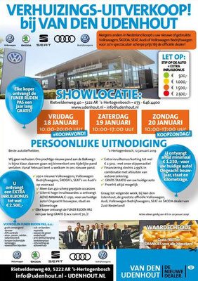 Direct Mailing - Automotive Sales Event - Van den Udenhout 's-Hertogenbosch - Volkswagen-Audi-SEAT-ŠKODA - januari 2019 - 76 verkochte auto's in 1 weekend