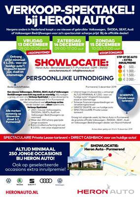 Direct Mailing - Automotive Sales Event - Heron Auto Purmerend - Volkswagen-Audi-SEAT-ŠKODA - december 2019 - 100 verkochte auto's in 1 weekend