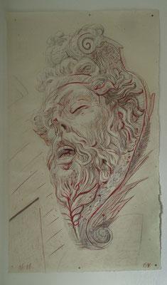 """Nr. 11, aus der Serie """"Arsenal"""", 2016, Mischtechnick auf Kahari Naturpapier, 170x100 cm"""