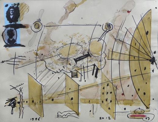 """Landschaftsmaler"", 1996 - 2017, Mischtechnik auf Papier"