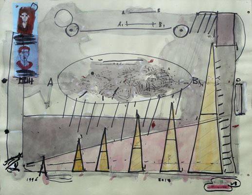 """Landschaftsmaler - 3"", 1996 - 2017, Mischtechnik auf Papier"