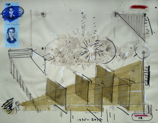 """Landschaftsmaler - 2"", 1996 - 2017, Mischtechnik auf Papier"