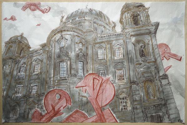 """Aus der Serie """"Museumsinsel"""", 2016, Mischtechnik auf Wenzhou- Chinapapier, ca. 100x150"""