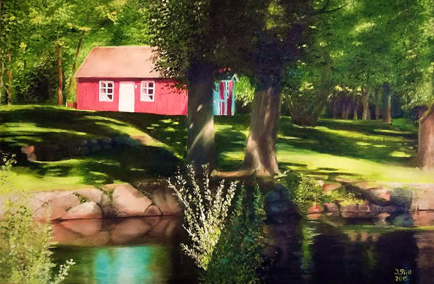 Schwedenhaus, 80 cm x 60 cm (Öl auf Leinwand)