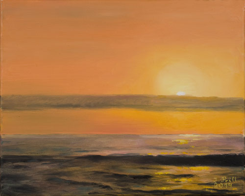 Sunset, 30 cm x 25 cm (Oil on canvas)