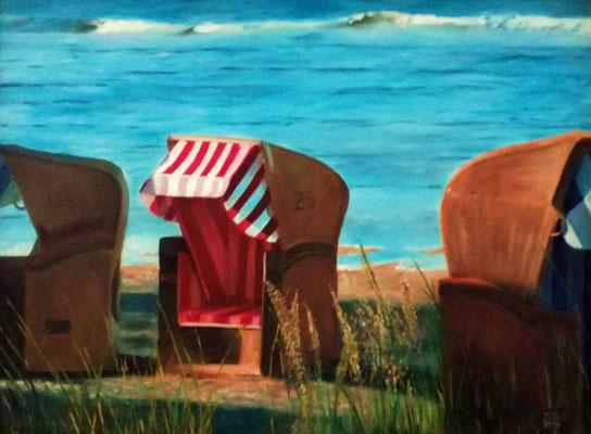Strandleben, 80 cm x 60 cm (Öl auf Leinwand)