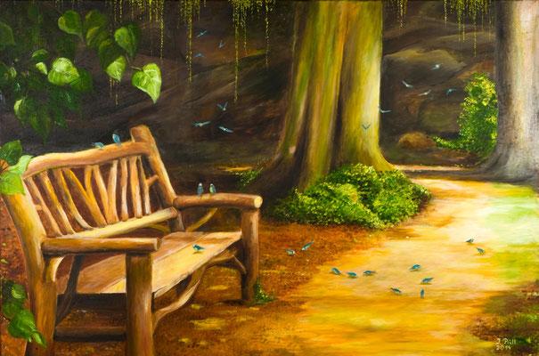 Pause im Central Park, 120 x 80 cm (Öl auf Leinwand)