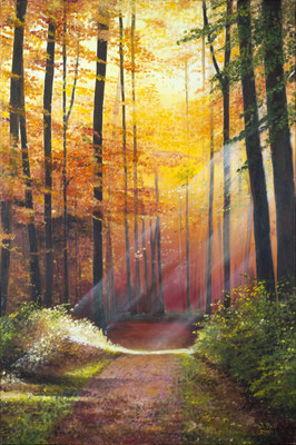 Bunte Herbstwelt, 90 cm x 60 cm (Öl auf Leinwand) (VERKAUFT)