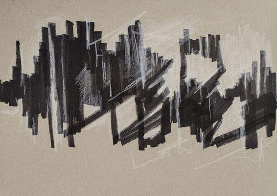 """""""Diffusion I"""", Zeichnung auf Papier, 21 x 30 cm, 2012"""