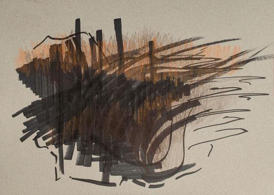 """""""Diffusion II"""", Zeichnung auf Papier, 21 x 30 cm, 2012"""