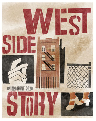 West Side Story, Theater Poster, Portfolio Piece from Bootcamp Assignment 2020 at makeartthatsells